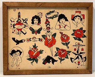 Kansas Tattoo Parlor Vintage Artwork, c. 1940s