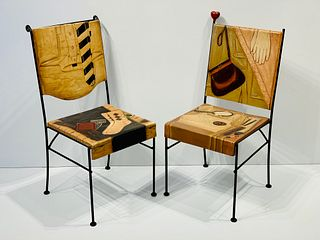 Pair Trompe l'Oeil Dressing Chairs, 'His' and 'Hers', Italian, c. 1980