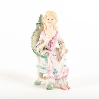 Fern Japanese Ceramic Figurine, Seated Lady