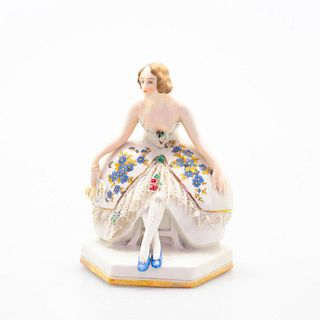 Galluba & Hofmann Lace Figurine, Lady In Blue Shoes