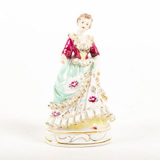 Porcelain Miniature Figurine, Lady In Floral Dress