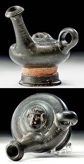Greek Campanian Glazed Pottery Guttus w/ Gorgon Head
