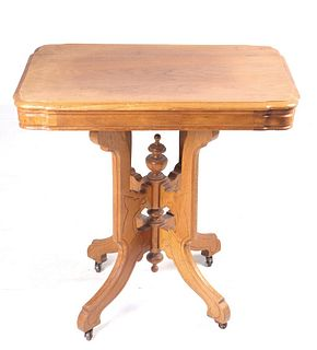 Victorian Eastlake Oak Parlor Table C Early 1900's