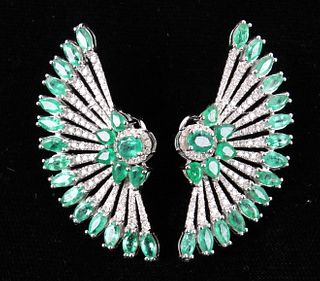 Great Gatsby Peacock Feather Emerald 18K Earrings