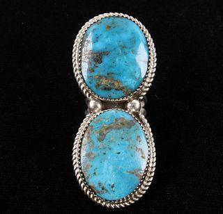 Navajo Beradine Begay Tsosie Kingman & Silver Ring