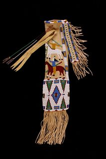 Lakota Sioux Pictorial Horse Beaded Pipe Bag