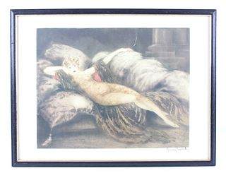 "Louis Icart Titled ""Meditation"" Framed Print"
