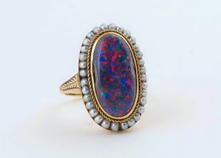 Victorian Black Opal and Seed Pearl Gold Ring