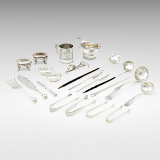 American and English, collection of twenty silver objects