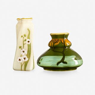 Roseville Pottery and Avon Pottery, twisting Woodland vase and vase with trees
