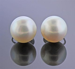 18k Gold 14mm South Sea Pearl Earrings