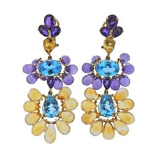 18k Gold Multi Color Gemstone Earrings