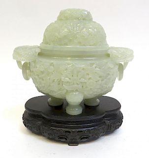 Fine White Jade Censer With Stand