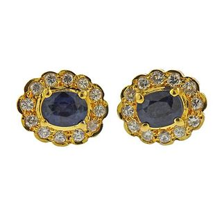 14K Gold Diamond Sapphire Stud Earrings