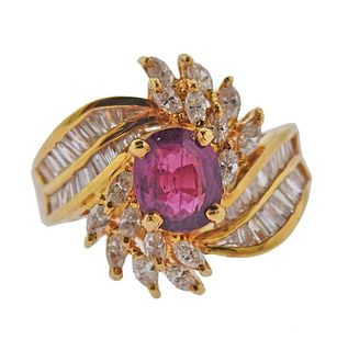18K Gold Diamond 1.70ct Ruby Cocktail Ring
