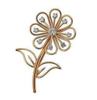 14K Gold Diamond Flower Brooch Pin