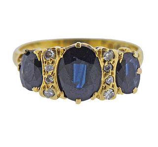 Antique English 18K Gold Diamond Sapphire Ring