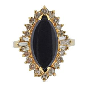 14K Gold Diamond Onyx Ring