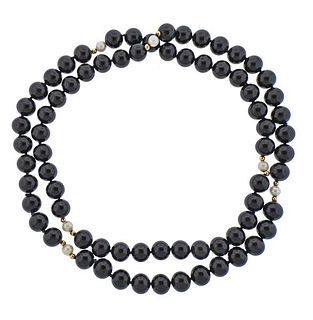 14K Gold Onyx Pearl Bead Necklace