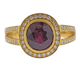 18K Gold Diamond Rubellite Ring