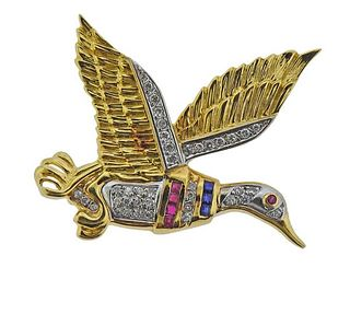 18K Gold Diamond Sapphire Ruby Duck Brooch Pin