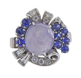 Retro 14K Gold Diamond Star Sapphire Ring