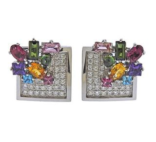 18k Gold Diamond Gemstone Earrings