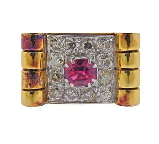 18k Gold Diamond Ruby Ring