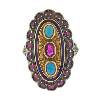 18K Gold Silver Turquoise Red Stone Enamel Ring