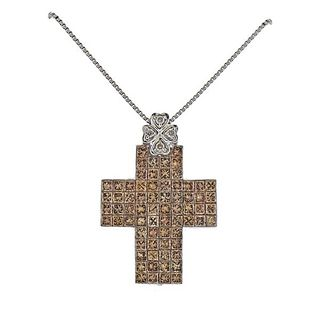 18k Gold Fancy Diamond Cross Pendant Necklace