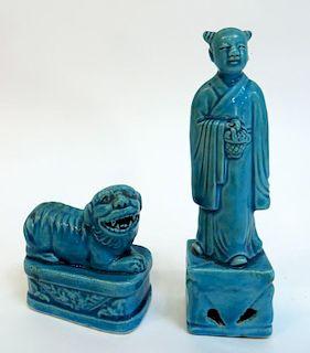 Two Blue Glazed Figures