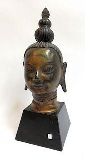 Cast Bronze Buddha Head