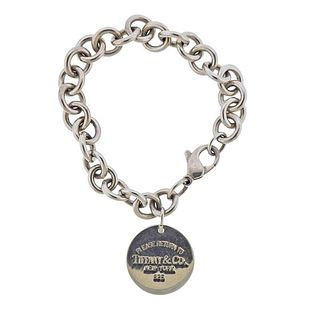 Tiffany & Co Return To Tiffany Sterling Round Tag Charm Bracelet