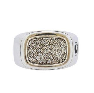 David Yurman Silver Diamond Pave Ring