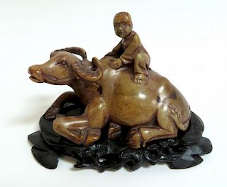 Chinese Soapstone Child Riding Water Buffalo