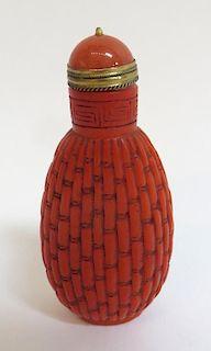 Red Peking Glass Snuff Bottle