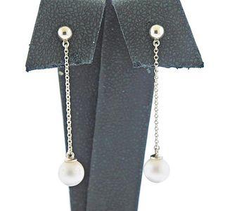 Tiffany & Co Silver Pearl Drop Earrings