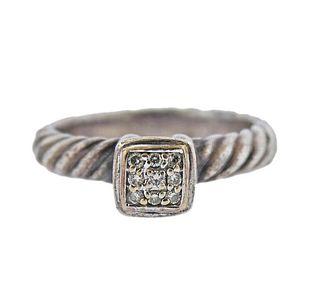 David Yurman Silver 18K Gold Diamond Ring