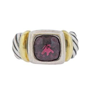 David Yurman Silver 14k Gold Garnet Ring