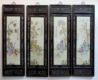 Four Large Qing Porcelain Panels With Zitan Frames