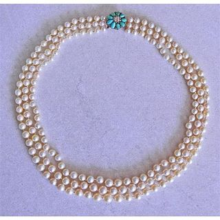 14K Gold Diamond Turquoise Pearl Necklace