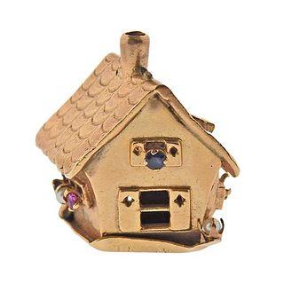 Retro 1940s 14k Gold Gem Set House Charm