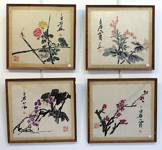 Four Framed Chinese Watercolor Paintings
