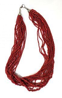 Multi Strand Chinese Coral Necklace