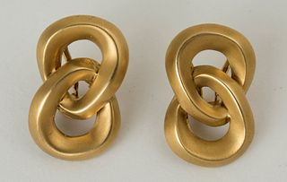Angela Cummings Brushed Gold Earrings