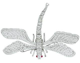 Diamond Dragonfly En Tremblant Brooch