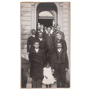 Booker T. Washington with Captain William T. Shorey and Distinguished Bay Area African American Citizens, Oversize Photograph, Jan. 14, 1903