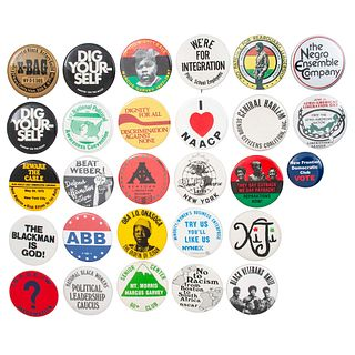 Black Cause Pinbacks, Lot of 28, circa 1970-1985
