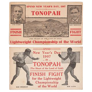 Joe Gans vs. Kid Herman Lightweight Championship, Tonopah, Nevada, 1907, Fight Postcards