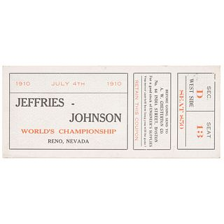 Johnson vs. Jeffries World Championship Ticket-Trade Card, Reno, Nevada, 1910